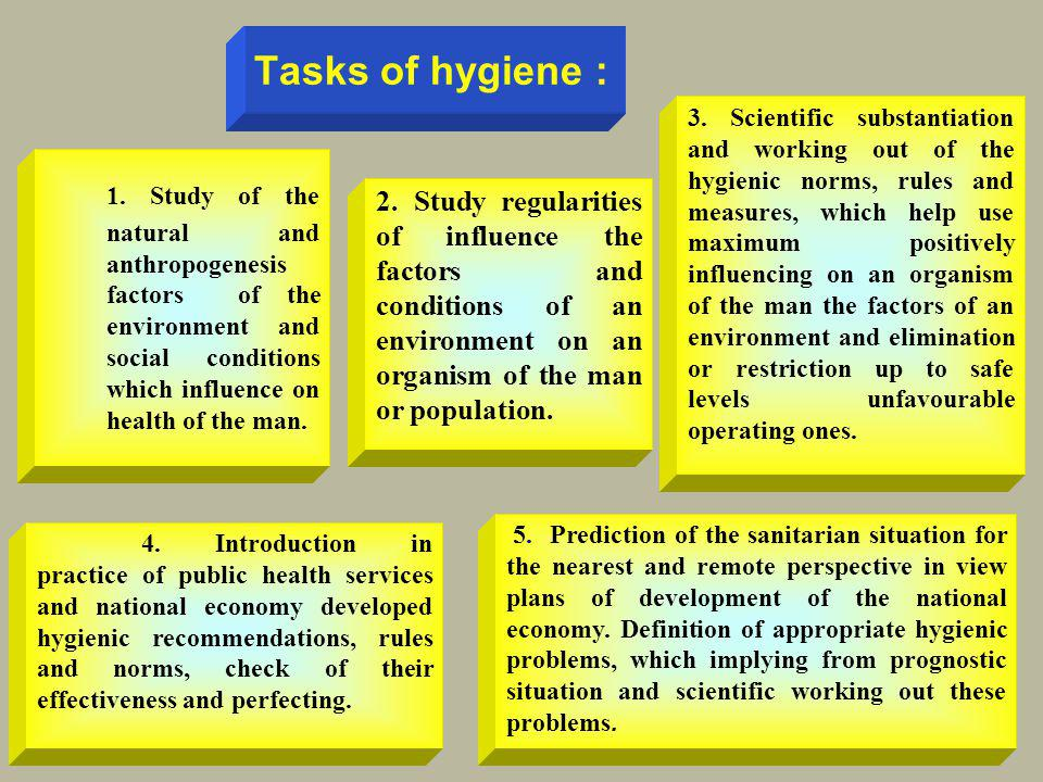 Tasks of hygiene : 1. Study of the natural and anthropogenesis factors of the environment and social conditions which influence on health of the man.