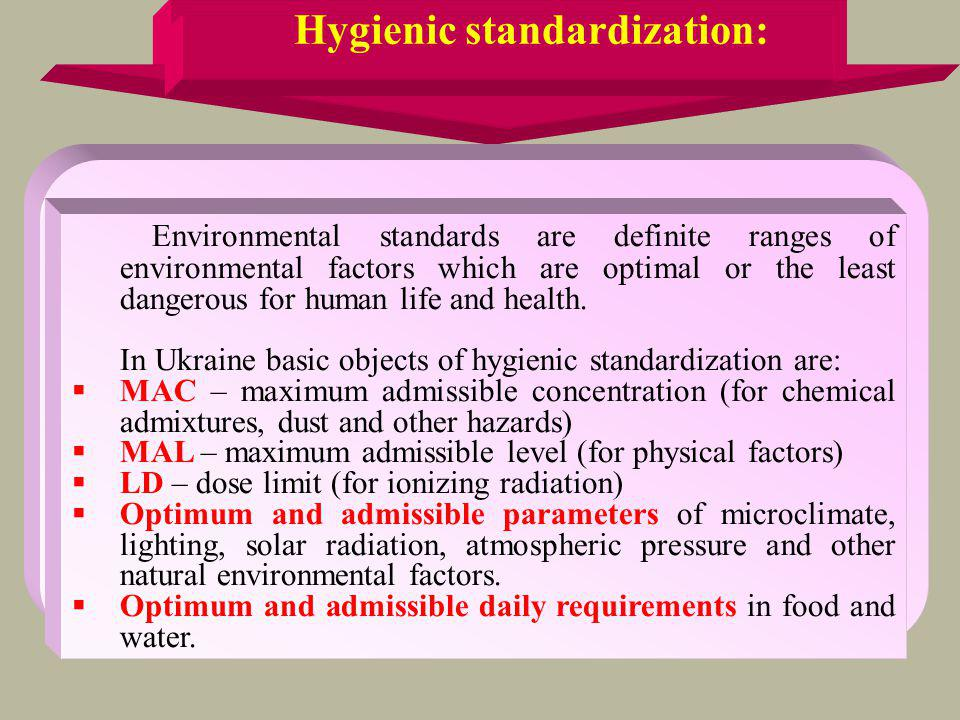 Hygienic standardization: Environmental standards are definite ranges of environmental factors which are optimal or the least dangerous for human life