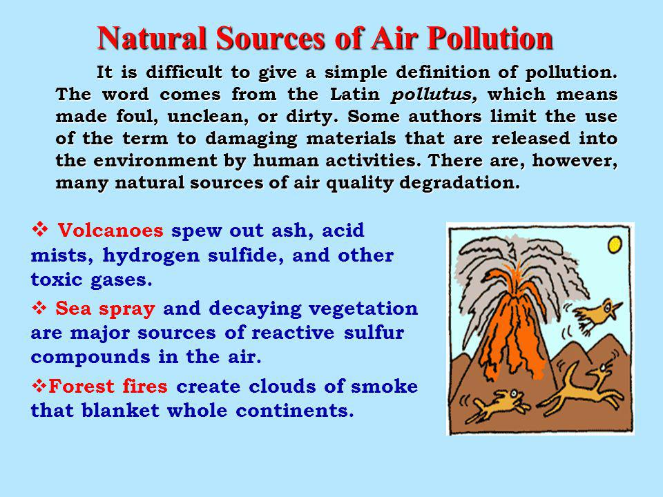 Natural Sources of Air Pollution Natural Sources of Air Pollution It is difficult to give a simple definition of pollution.