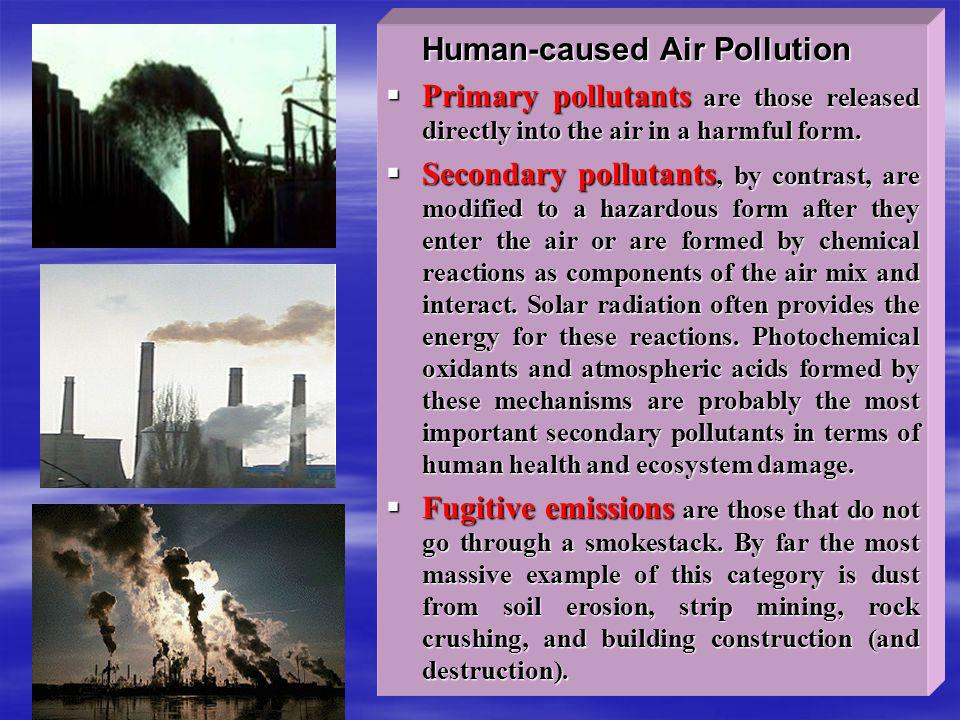 Human-caused Air Pollution Human-caused Air Pollution Primary pollutants are those released directly into the air in a harmful form. Primary pollutant