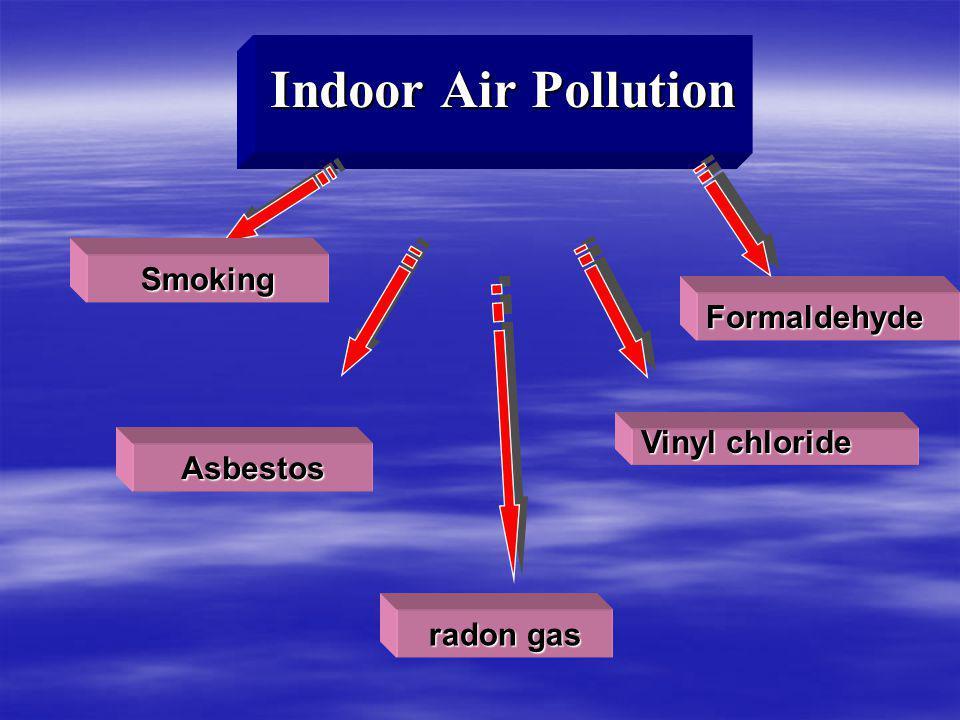 Indoor Air Pollution Asbestos Vinyl chloride Formaldehyde Smoking radon gas