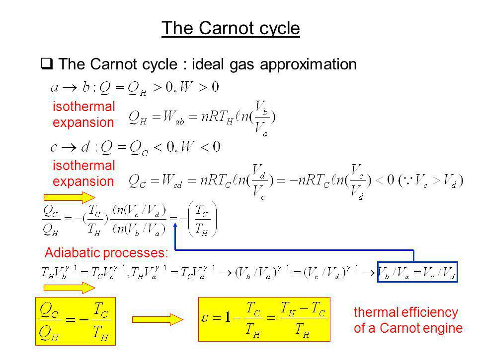 The Carnot cycle The Carnot cycle : ideal gas approximation thermal efficiency of a Carnot engine isothermal expansion isothermal expansion Adiabatic
