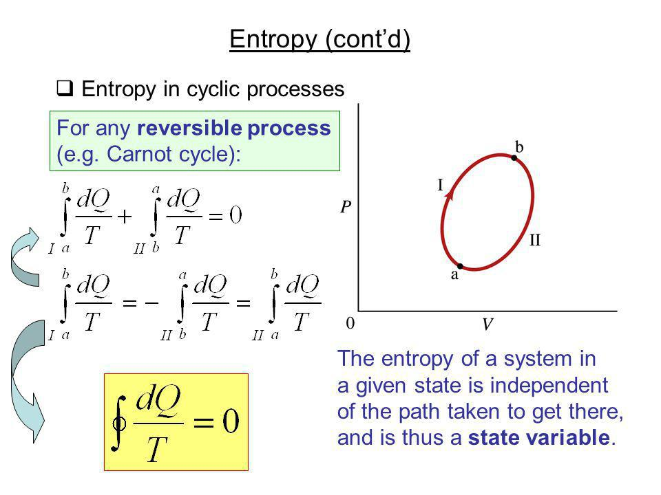 Entropy (contd) Entropy in cyclic processes For any reversible process (e.g. Carnot cycle): The entropy of a system in a given state is independent of