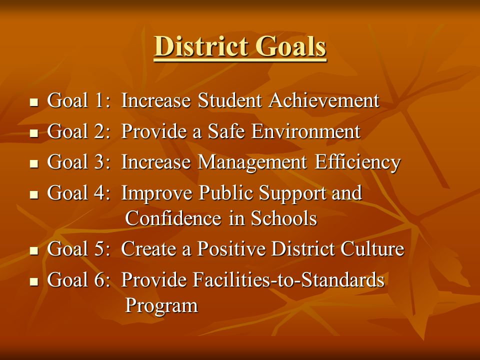 District Goals Goal 1: Increase Student Achievement Goal 1: Increase Student Achievement Goal 2: Provide a Safe Environment Goal 2: Provide a Safe Environment Goal 3: Increase Management Efficiency Goal 3: Increase Management Efficiency Goal 4: Improve Public Support and Confidence in Schools Goal 4: Improve Public Support and Confidence in Schools Goal 5: Create a Positive District Culture Goal 5: Create a Positive District Culture Goal 6: Provide Facilities-to-Standards Program Goal 6: Provide Facilities-to-Standards Program