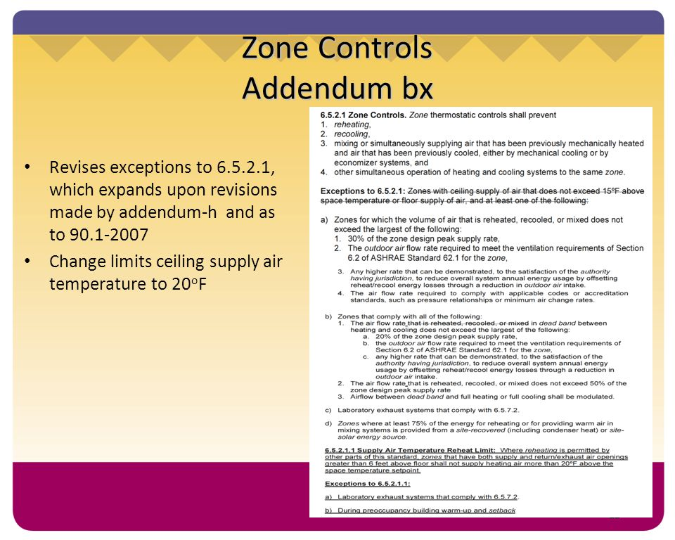 12 Zone Controls Addendum bx Revises exceptions to 6.5.2.1, which expands upon revisions made by addendum-h and as to 90.1-2007 Change limits ceiling