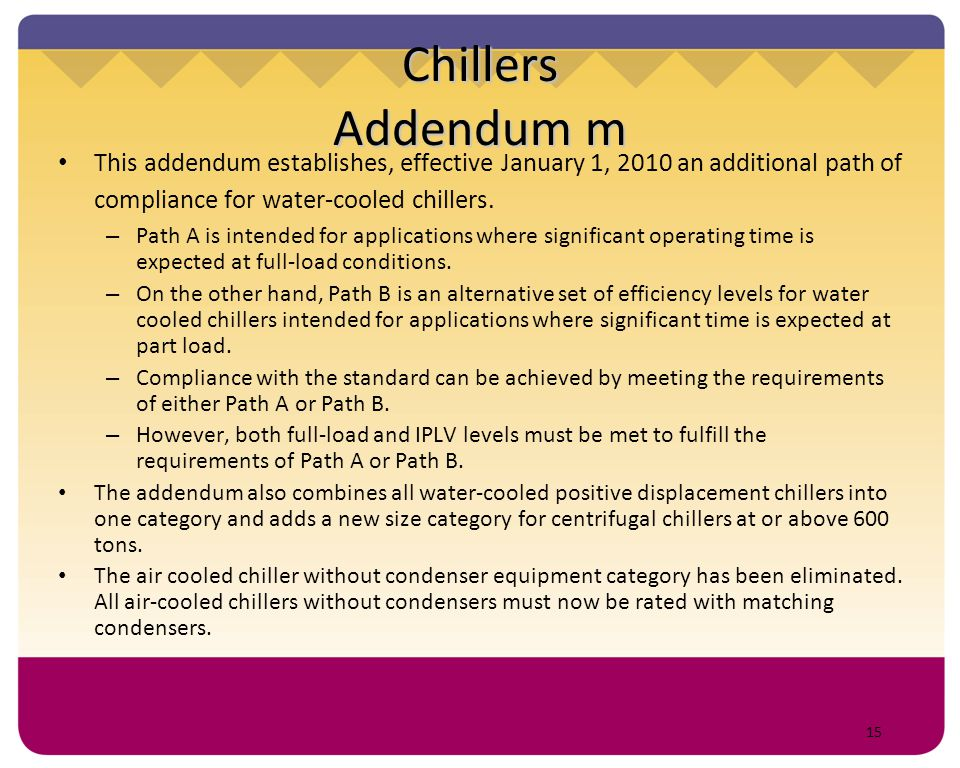 15 Chillers Addendum m This addendum establishes, effective January 1, 2010 an additional path of compliance for water-cooled chillers. – Path A is in