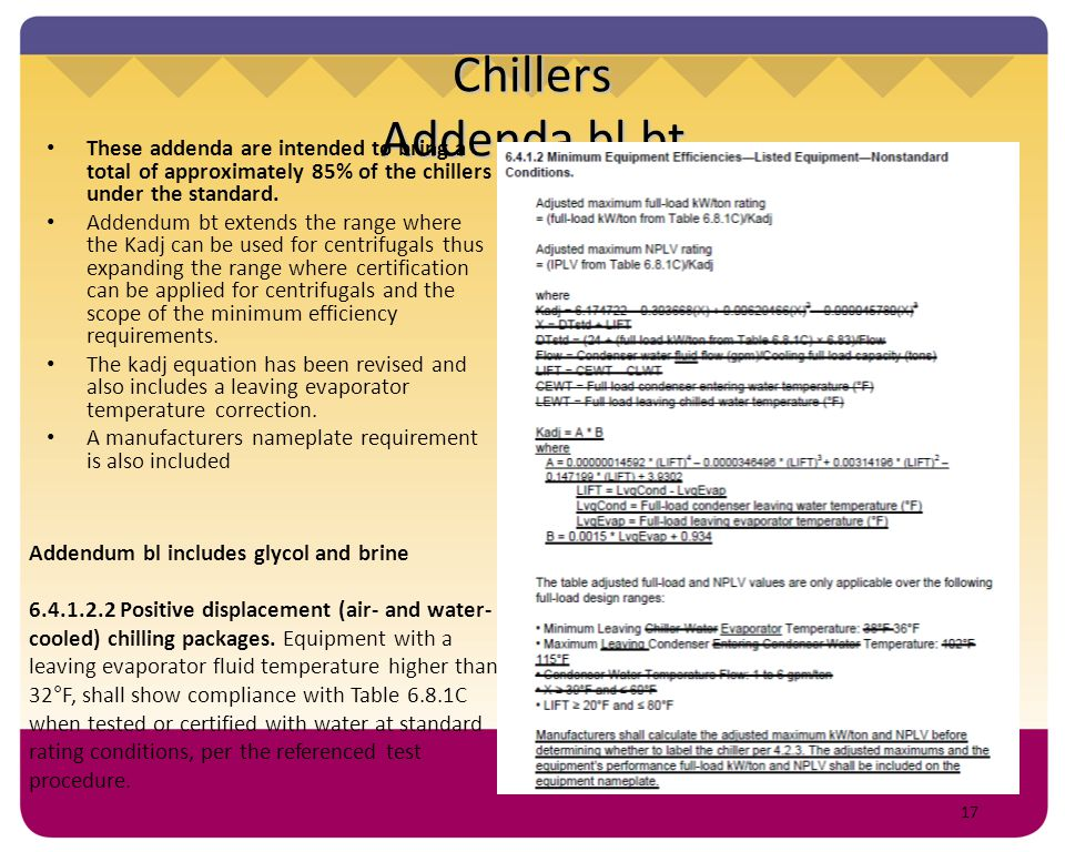 17 Chillers Addenda bl,bt These addenda are intended to bring a total of approximately 85% of the chillers under the standard. Addendum bt extends the