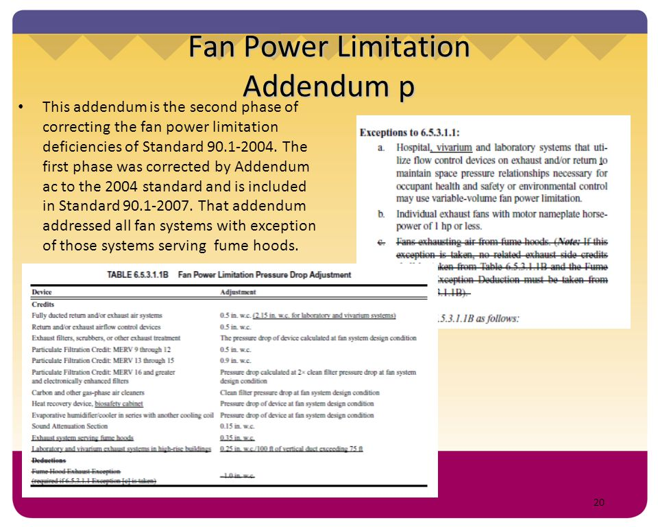 20 Fan Power Limitation Addendum p This addendum is the second phase of correcting the fan power limitation deficiencies of Standard 90.1-2004. The fi