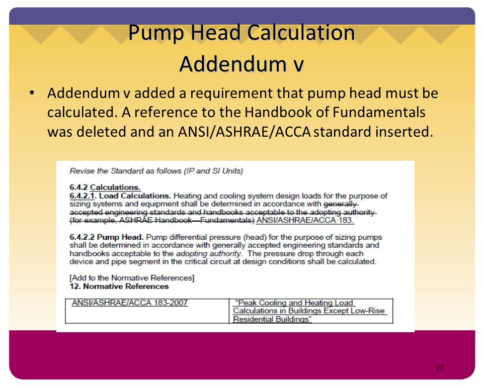 27 Pump Head Calculation Addendum v Addendum v added a requirement that pump head must be calculated. A reference to the Handbook of Fundamentals was