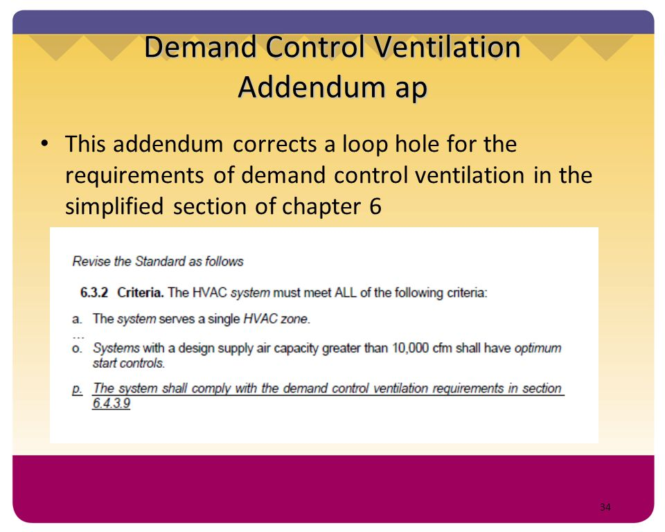 34 Demand Control Ventilation Addendum ap This addendum corrects a loop hole for the requirements of demand control ventilation in the simplified sect