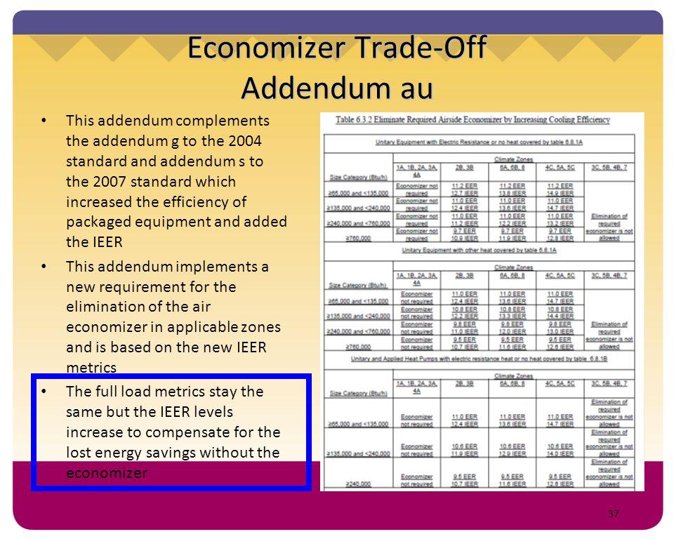 37 Economizer Trade-Off Addendum au This addendum complements the addendum g to the 2004 standard and addendum s to the 2007 standard which increased