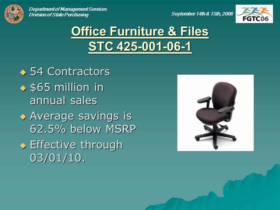 Department of Management Services Division of State Purchasing September 14th & 15th, 2006 Office Furniture & Files STC 425-001-06-1 54 Contractors 54 Contractors $65 million in annual sales $65 million in annual sales Average savings is 62.5% below MSRP Average savings is 62.5% below MSRP Effective through 03/01/10.