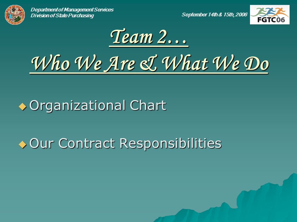 Department of Management Services Division of State Purchasing September 14th & 15th, 2006 Team 2… Who We Are & What We Do Organizational Chart Organizational Chart Our Contract Responsibilities Our Contract Responsibilities