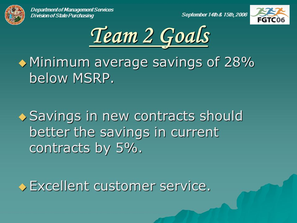 Department of Management Services Division of State Purchasing September 14th & 15th, 2006 Team 2 Goals Minimum average savings of 28% below MSRP.