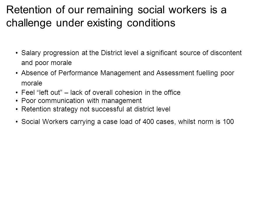 Retention of our remaining social workers is a challenge under existing conditions Salary progression at the District level a significant source of discontent and poor morale Absence of Performance Management and Assessment fuelling poor morale Feel left out – lack of overall cohesion in the office Poor communication with management Retention strategy not successful at district level Social Workers carrying a case load of 400 cases, whilst norm is 100