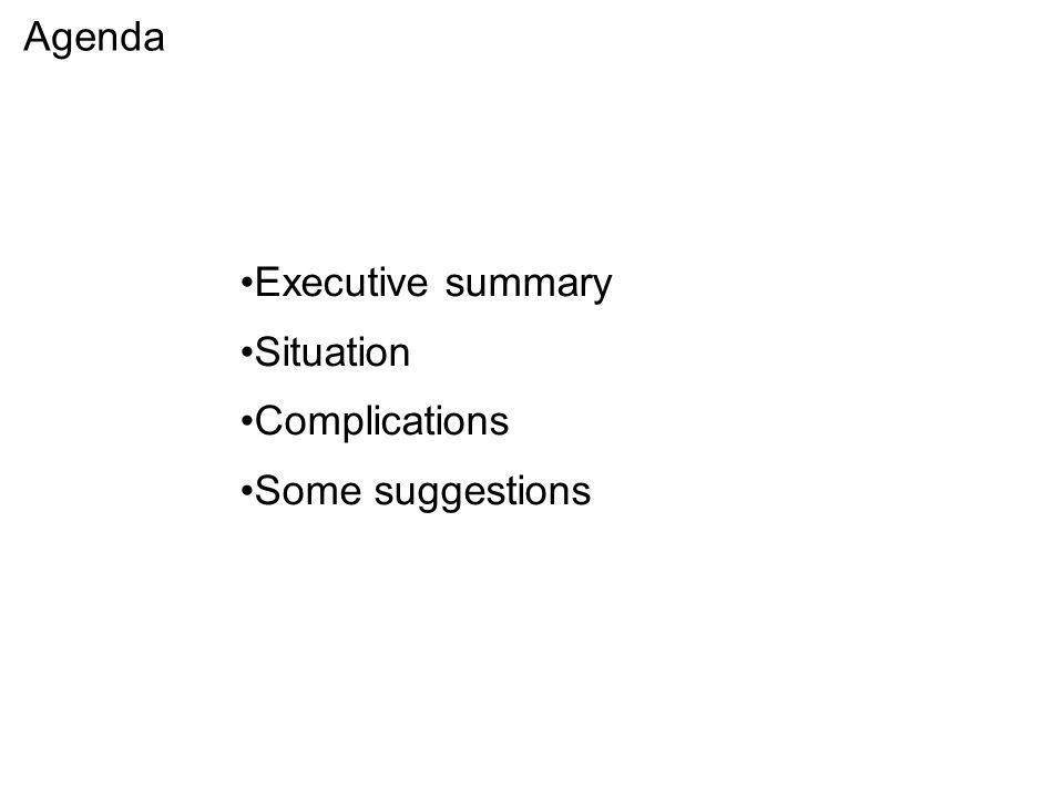 Agenda Executive summary Situation Complications Some suggestions