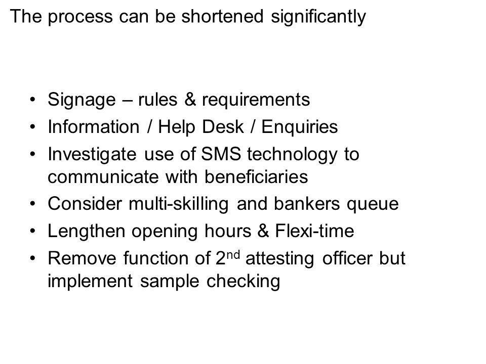 The process can be shortened significantly Signage – rules & requirements Information / Help Desk / Enquiries Investigate use of SMS technology to communicate with beneficiaries Consider multi-skilling and bankers queue Lengthen opening hours & Flexi-time Remove function of 2 nd attesting officer but implement sample checking