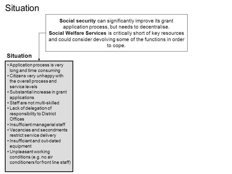 Situation Social security can significantly improve its grant application process, but needs to decentralise.