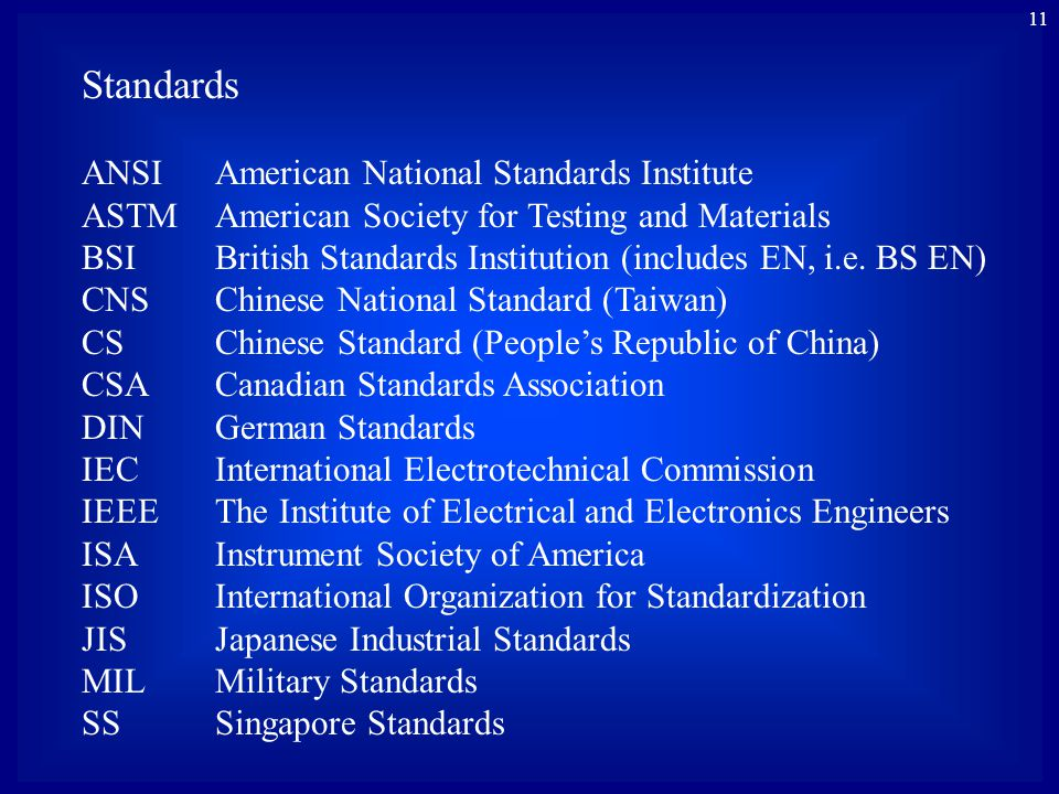 11 Standards ANSIAmerican National Standards Institute ASTMAmerican Society for Testing and Materials BSIBritish Standards Institution (includes EN, i.e.