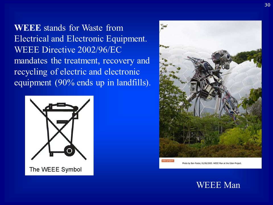30 WEEE Man WEEE stands for Waste from Electrical and Electronic Equipment. WEEE Directive 2002/96/EC mandates the treatment, recovery and recycling o