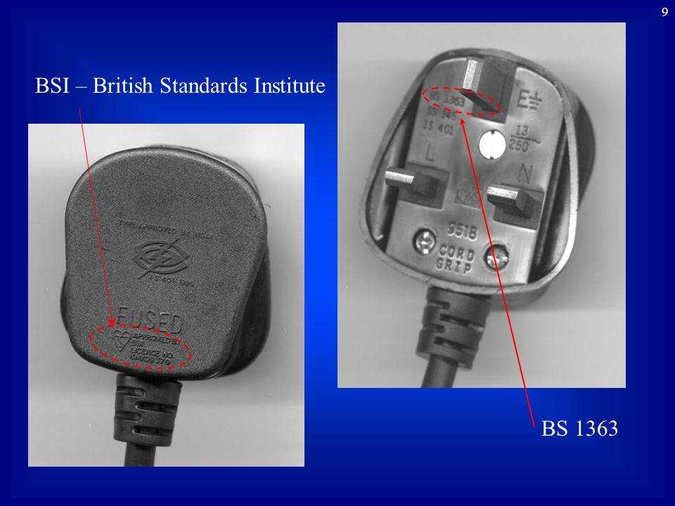 9 BSI – British Standards Institute BS 1363