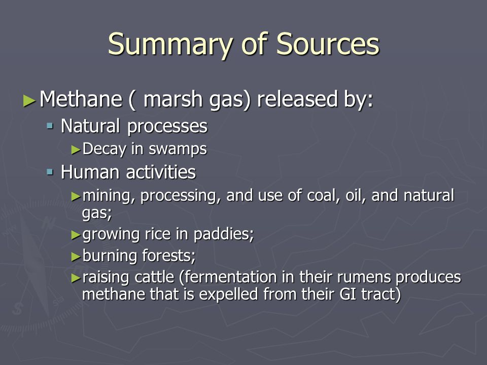 Summary of Sources Methane ( marsh gas) released by: Methane ( marsh gas) released by: Natural processes Natural processes Decay in swamps Decay in swamps Human activities Human activities mining, processing, and use of coal, oil, and natural gas; mining, processing, and use of coal, oil, and natural gas; growing rice in paddies; growing rice in paddies; burning forests; burning forests; raising cattle (fermentation in their rumens produces methane that is expelled from their GI tract) raising cattle (fermentation in their rumens produces methane that is expelled from their GI tract)