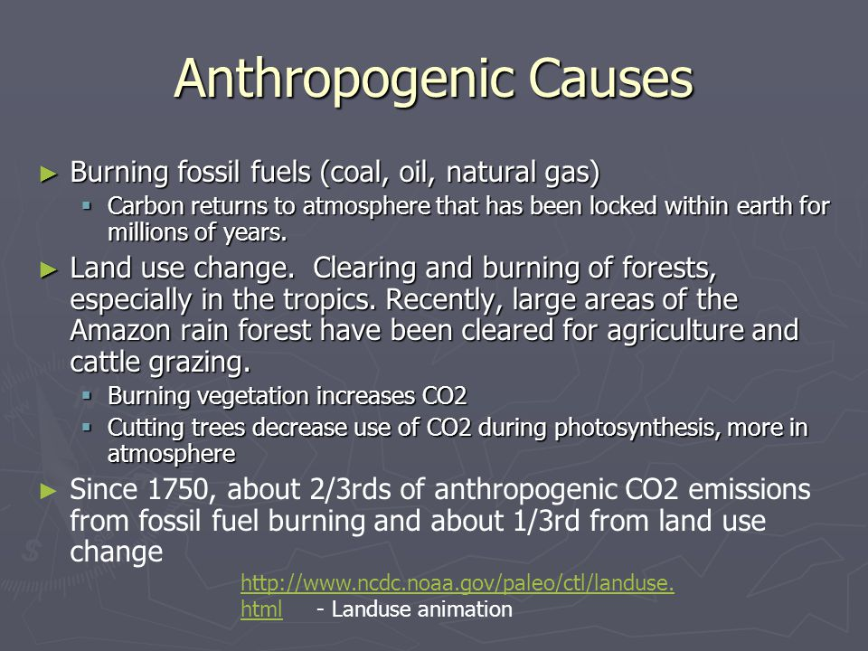 Anthropogenic Causes Burning fossil fuels (coal, oil, natural gas) Burning fossil fuels (coal, oil, natural gas) Carbon returns to atmosphere that has been locked within earth for millions of years.