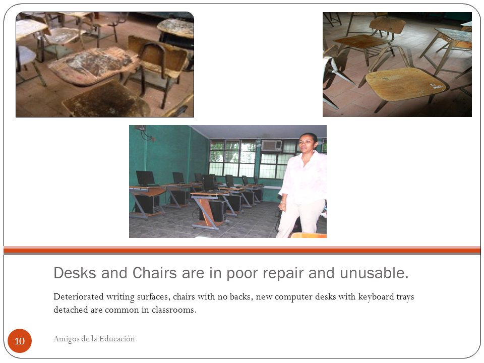 Desks and Chairs are in poor repair and unusable.