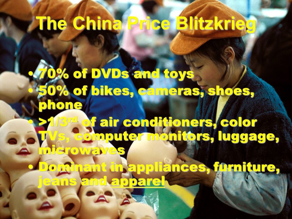 The China Price Blitzkrieg 70% of DVDs and toys70% of DVDs and toys 50% of bikes, cameras, shoes, phone50% of bikes, cameras, shoes, phone >1/3 rd of air conditioners, color TVs, computer monitors, luggage, microwaves>1/3 rd of air conditioners, color TVs, computer monitors, luggage, microwaves Dominant in appliances, furniture, jeans and apparelDominant in appliances, furniture, jeans and apparel