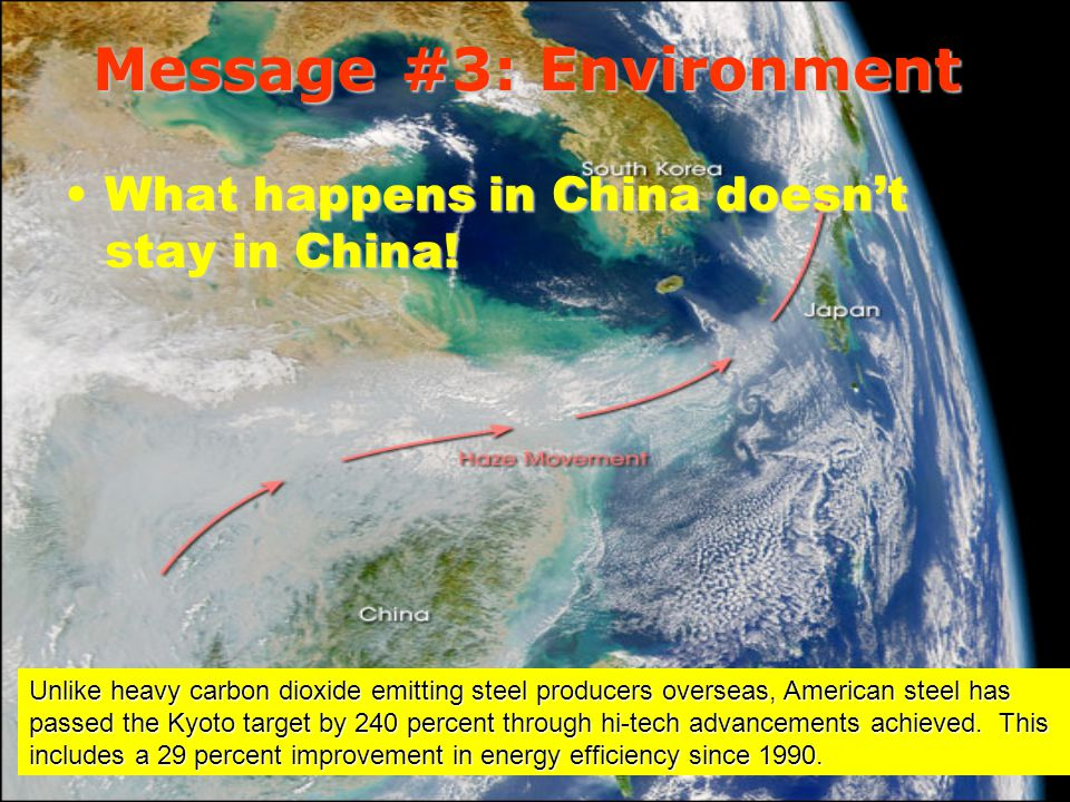 Message #3: Environment What happens in China doesnt stay in China!What happens in China doesnt stay in China.