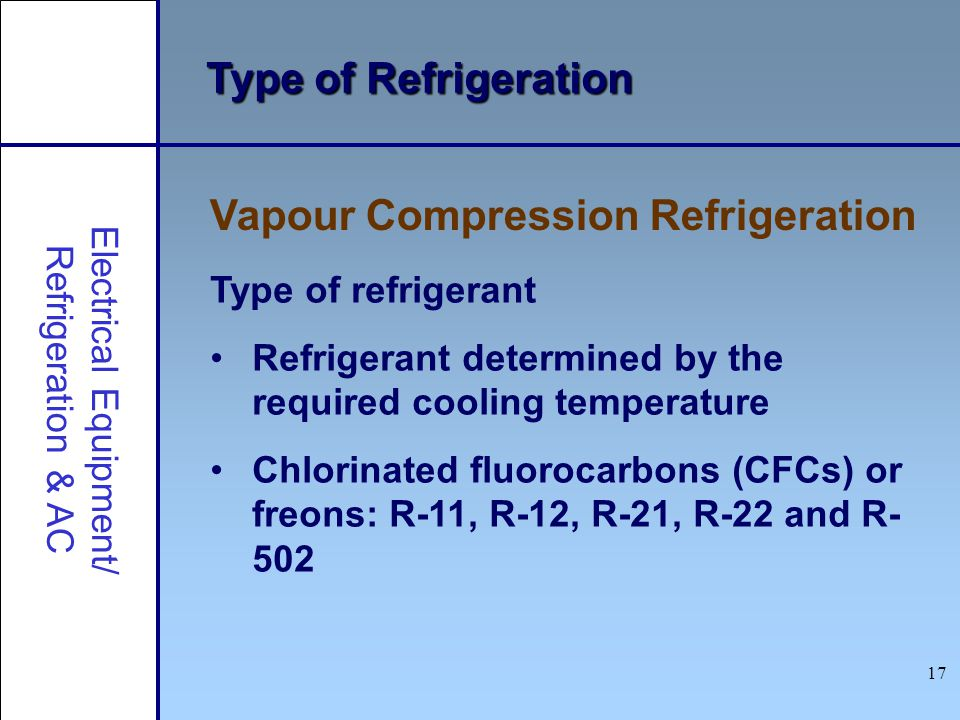 17 Type of Refrigeration Vapour Compression Refrigeration Electrical Equipment/ Refrigeration & AC Type of refrigerant Refrigerant determined by the r