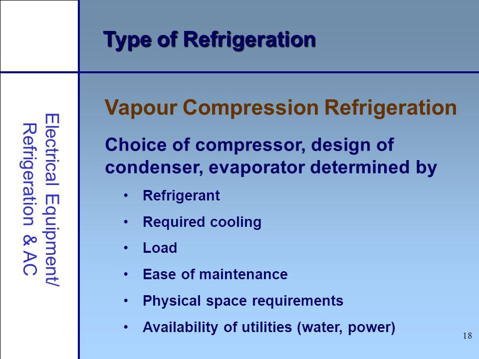 18 Type of Refrigeration Vapour Compression Refrigeration Electrical Equipment/ Refrigeration & AC Choice of compressor, design of condenser, evaporat
