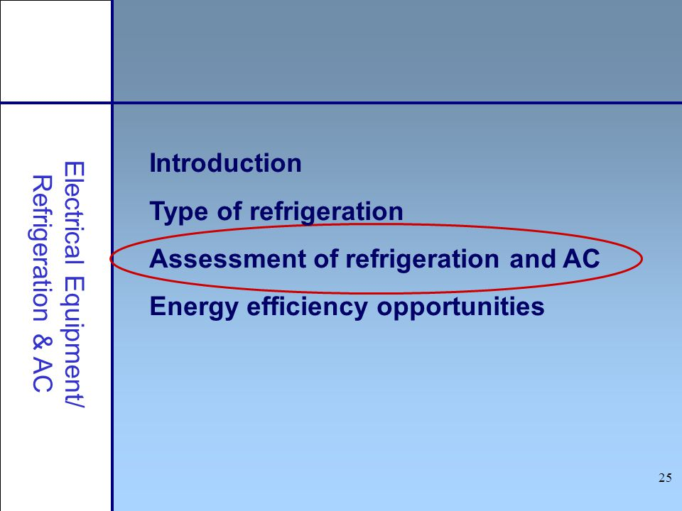 25 Introduction Type of refrigeration Assessment of refrigeration and AC Energy efficiency opportunities Electrical Equipment/ Refrigeration & AC