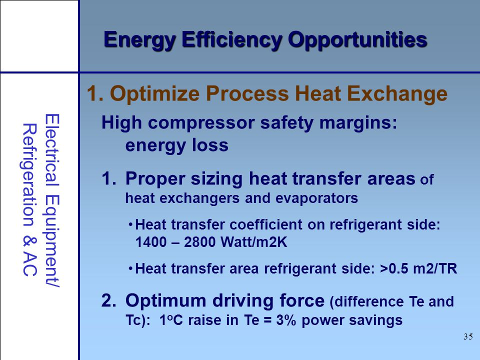 35 Energy Efficiency Opportunities High compressor safety margins: energy loss 1.Proper sizing heat transfer areas of heat exchangers and evaporators