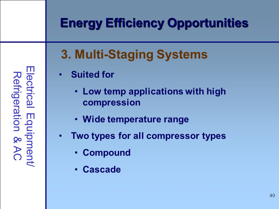 40 Energy Efficiency Opportunities Suited for Low temp applications with high compression Wide temperature range Two types for all compressor types Co