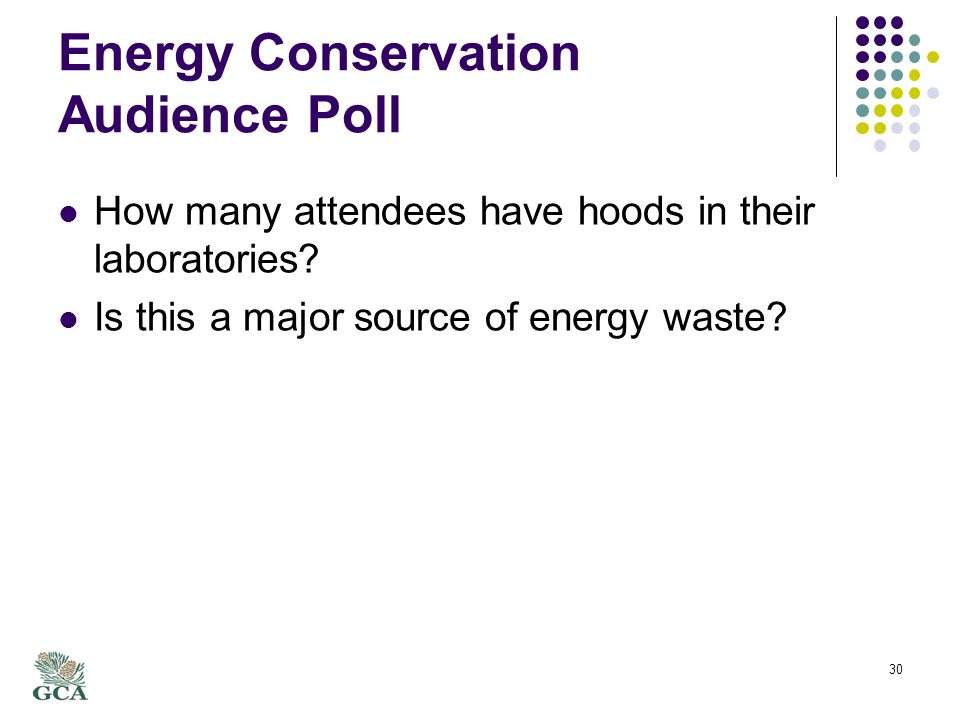 Energy Conservation Audience Poll How many attendees have hoods in their laboratories.