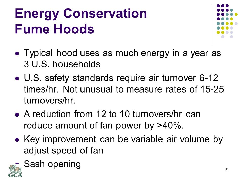 Energy Conservation Fume Hoods Typical hood uses as much energy in a year as 3 U.S.