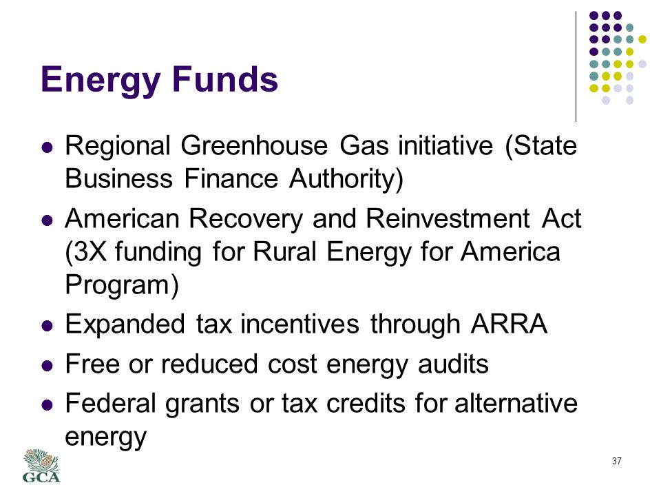 Energy Funds Regional Greenhouse Gas initiative (State Business Finance Authority) American Recovery and Reinvestment Act (3X funding for Rural Energy for America Program) Expanded tax incentives through ARRA Free or reduced cost energy audits Federal grants or tax credits for alternative energy 37
