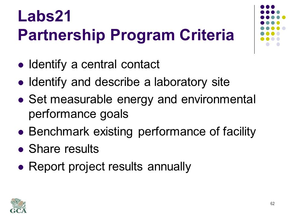 Labs21 Partnership Program Criteria Identify a central contact Identify and describe a laboratory site Set measurable energy and environmental performance goals Benchmark existing performance of facility Share results Report project results annually 62