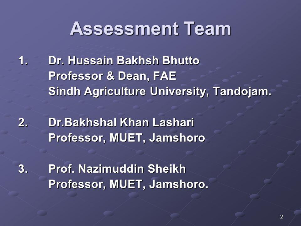 2 Assessment Team 1.Dr. Hussain Bakhsh Bhutto Professor & Dean, FAE Sindh Agriculture University, Tandojam. 2.Dr.Bakhshal Khan Lashari Professor, MUET