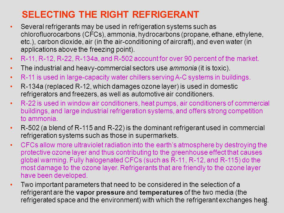 8 SELECTING THE RIGHT REFRIGERANT Several refrigerants may be used in refrigeration systems such as chlorofluorocarbons (CFCs), ammonia, hydrocarbons