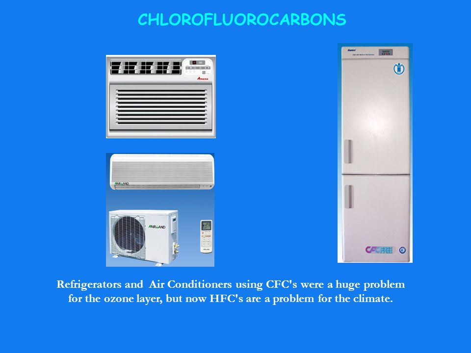 CHLOROFLUOROCARBONS Refrigerators and Air Conditioners using CFC's were a huge problem for the ozone layer, but now HFC's are a problem for the climat