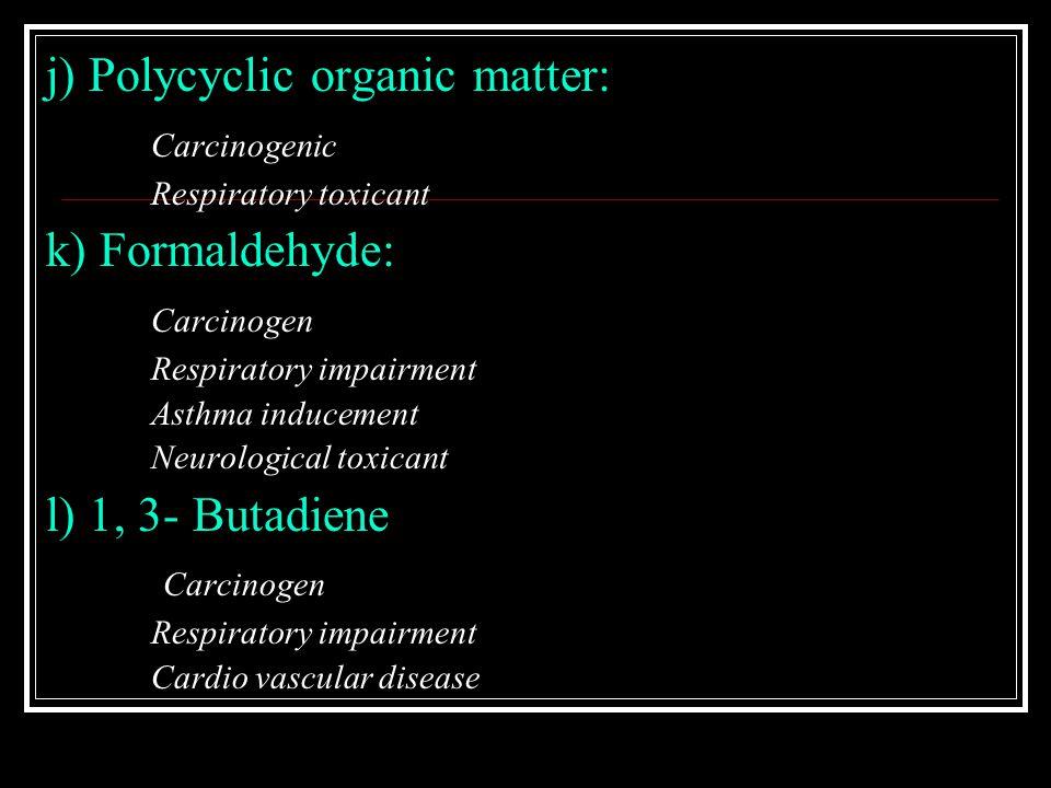 j) Polycyclic organic matter: Carcinogenic Respiratory toxicant k) Formaldehyde: Carcinogen Respiratory impairment Asthma inducement Neurological toxi