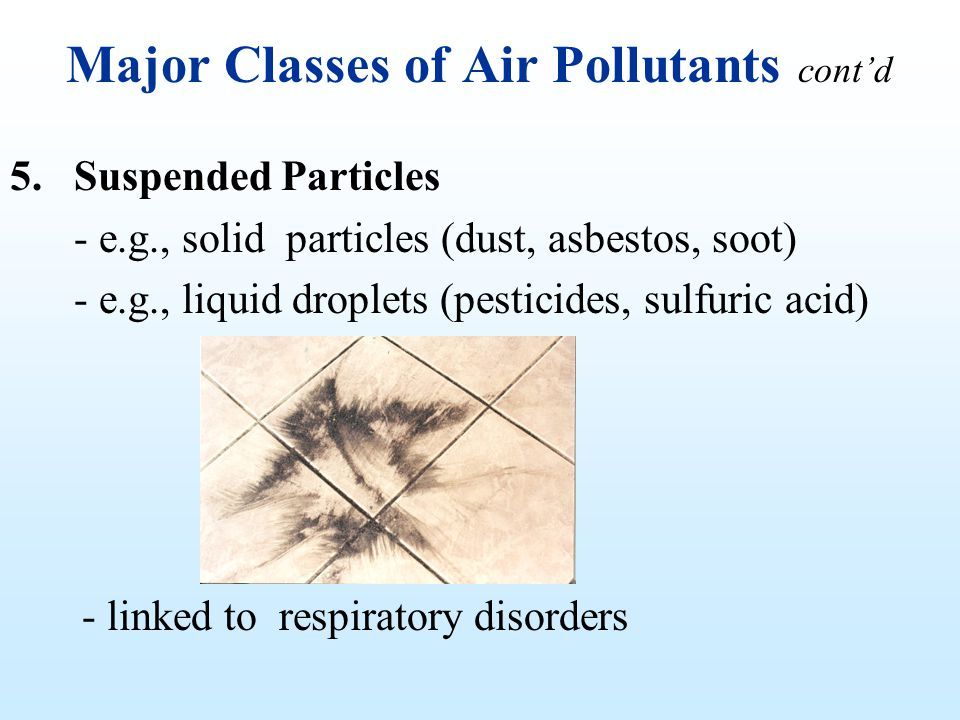 Major Classes of Air Pollutants contd 5.Suspended Particles - e.g., solid particles (dust, asbestos, soot) - e.g., liquid droplets (pesticides, sulfur