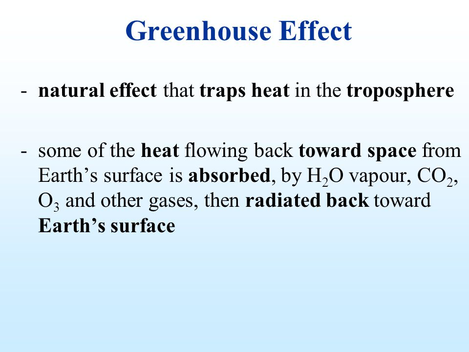 Greenhouse Effect -natural effect that traps heat in the troposphere -some of the heat flowing back toward space from Earths surface is absorbed, by H