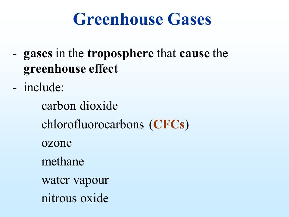 Greenhouse Gases -gases in the troposphere that cause the greenhouse effect -include: carbon dioxide chlorofluorocarbons (CFCs) ozone methane water va