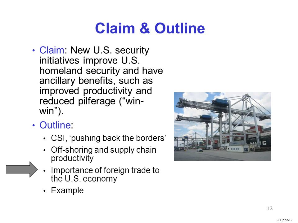 GT.ppt-12 12 Claim & Outline Claim: New U.S. security initiatives improve U.S.
