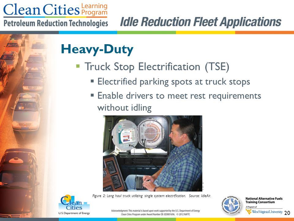 20 Heavy-Duty Truck Stop Electrification (TSE) Electrified parking spots at truck stops Enable drivers to meet rest requirements without idling Figure 2: Long haul truck utilizing single system electrification.
