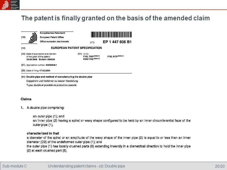Sub-module CUnderstanding patent claims - (d) Double pipe 20/20 The patent is finally granted on the basis of the amended claim