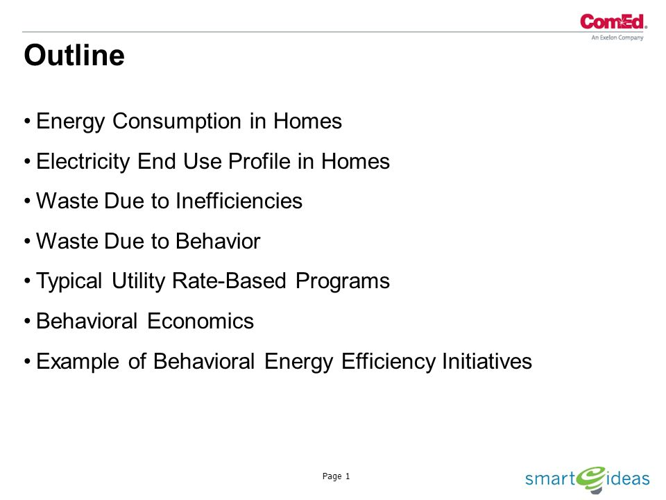 Page 1 Energy Consumption in Homes Electricity End Use Profile in Homes Waste Due to Inefficiencies Waste Due to Behavior Typical Utility Rate-Based Programs Behavioral Economics Example of Behavioral Energy Efficiency Initiatives Outline